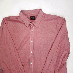 UNTUCKit 2XL Button Up Cotton Shirt Mini Check Red